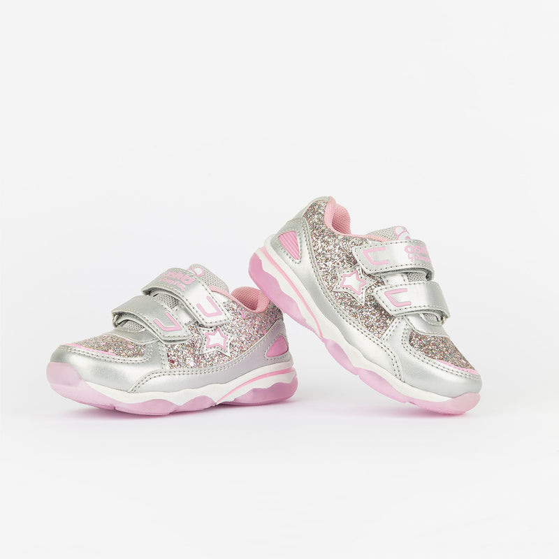 Baby's Silver Sneakers with Lights