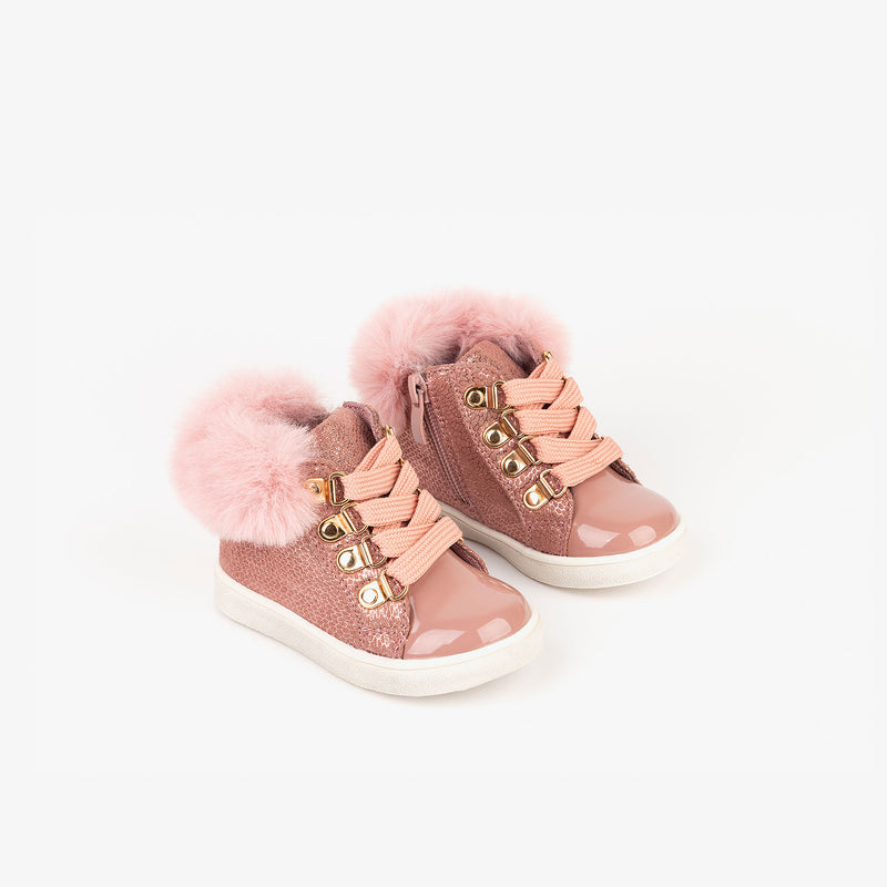 Baby's Metallized Pink Booties with Fur