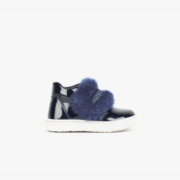 Baby's Metallized Navy Booties with Bow