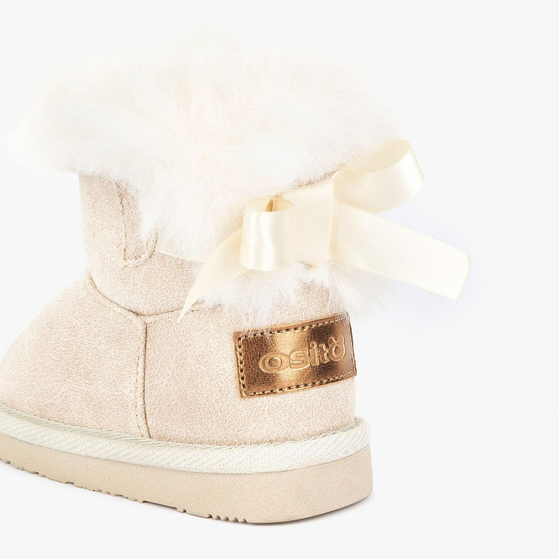 Baby's Beige Australian Boots with Bow