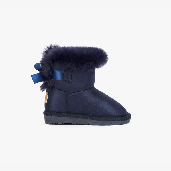 Baby's Navy Australian Boots with Bow