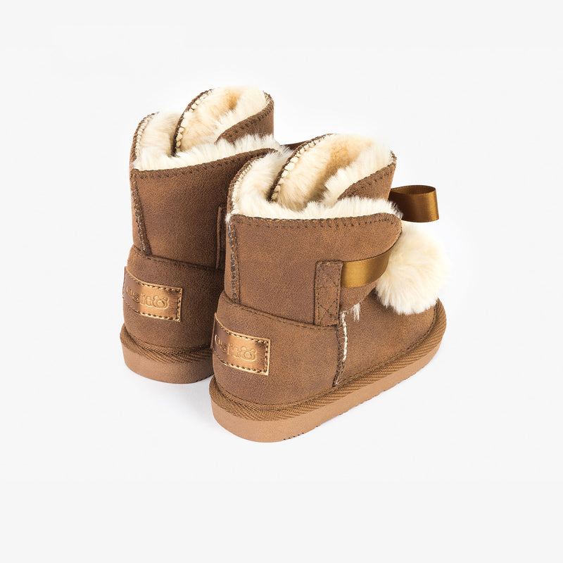 Baby's Brown Australian Boots with Pompom