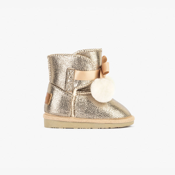 Baby's Metallized Platinum Australian Boots with Pompom