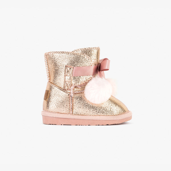 Baby's Metalized Pink Australian Boots with Pompom