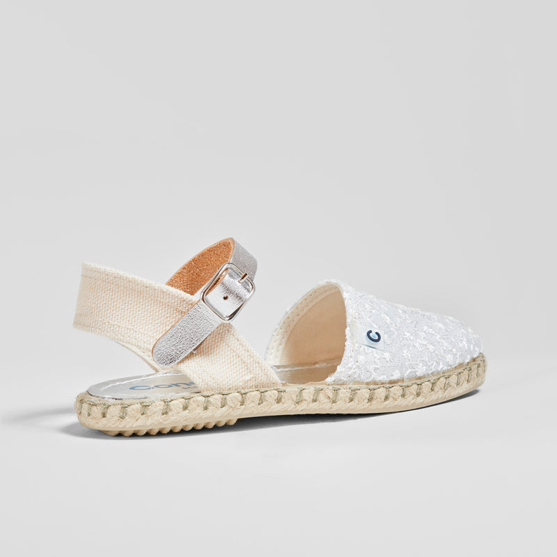 Girl's White Embroidered Sandals