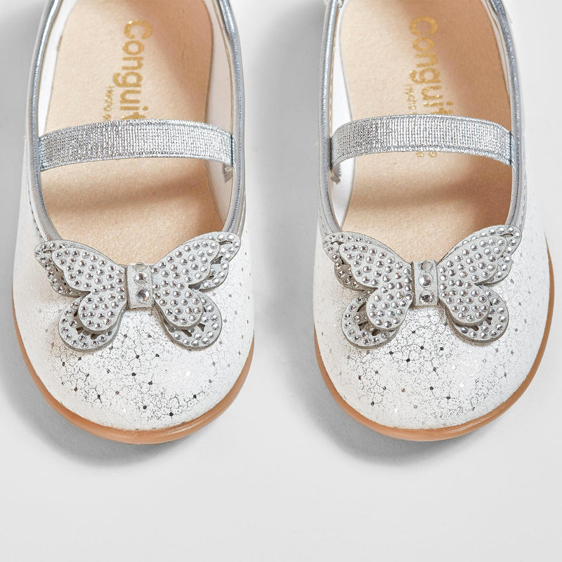 Girl's Butterfly Metallic Silver Ballerinas