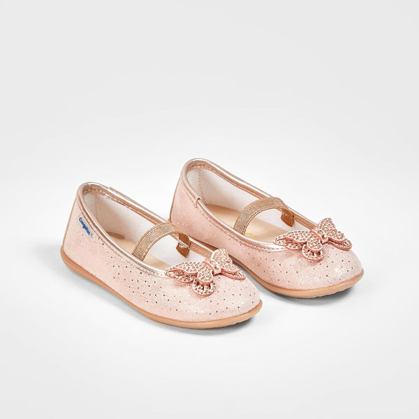 Girl's Butterfly Metallized Magnesium Ballerinas
