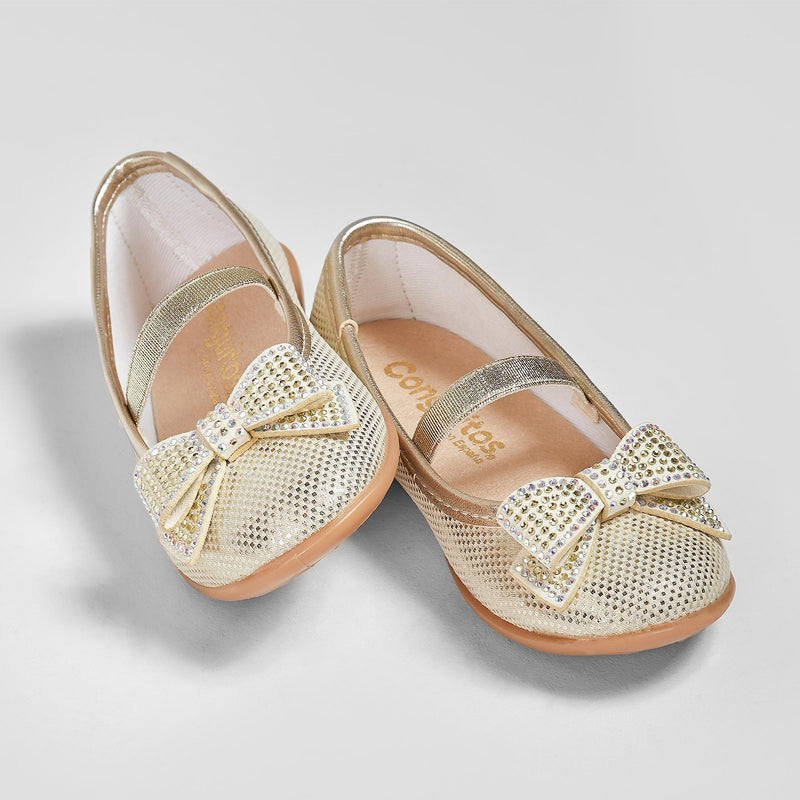 Girl's Metalized Platinum Loop Ballerinas