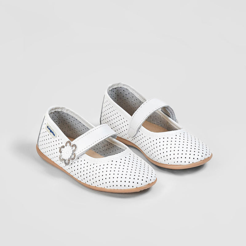 Girl's White Washable Leather Mary Jane