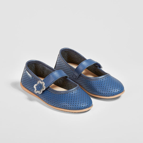 Girl's Navy Washable Leather Mary Jane