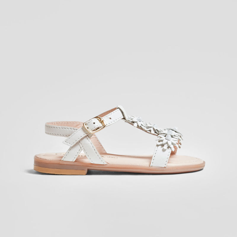 Girl's White Flowers Leather Sandals