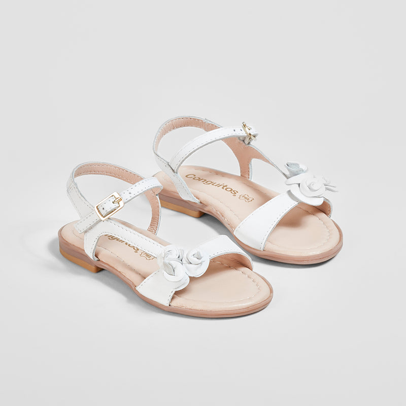 Girl's Flowers Adornment White Leather Sandals