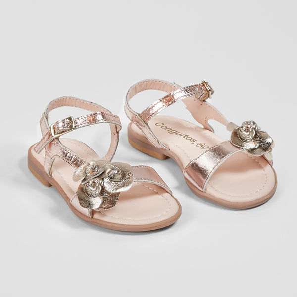 Girl's Flowers Adornment Magnesium Leather Sandals