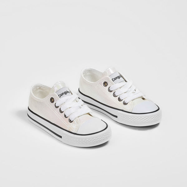 Girl's White Iridescent Sneakers