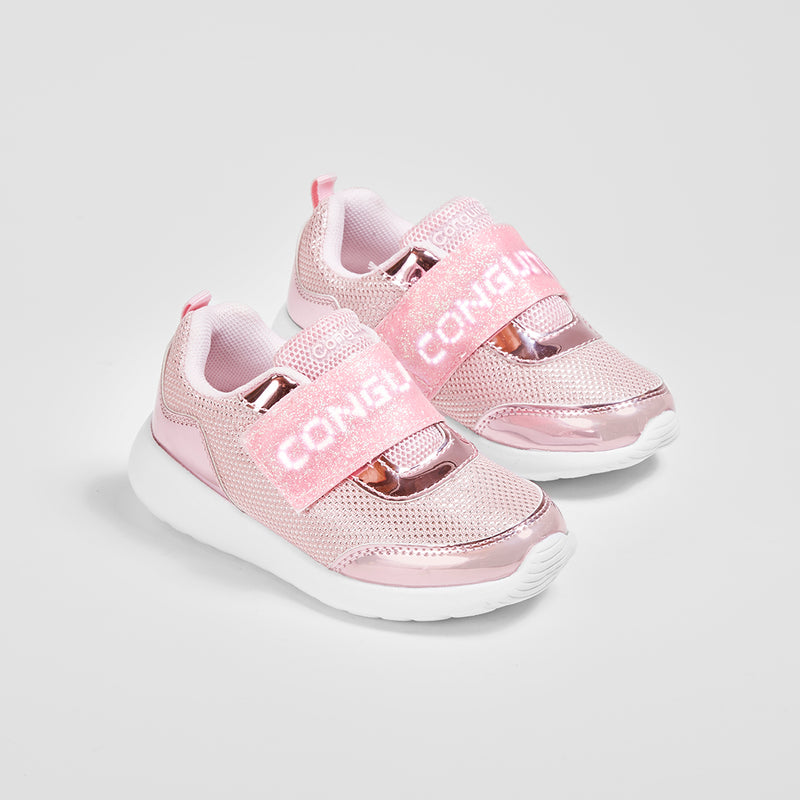 Girl's Pink Sneakers with Led Lights