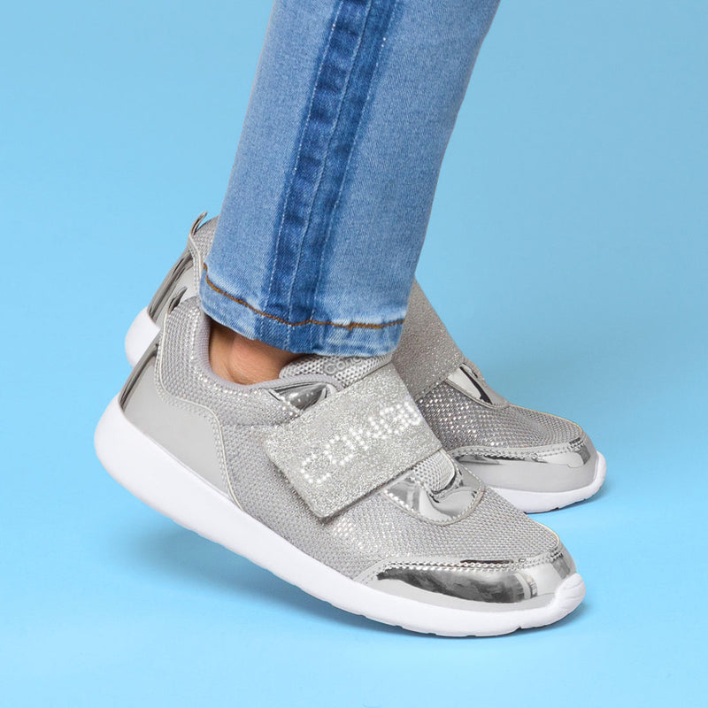 Girl's Silver Sneakers with Led Lights