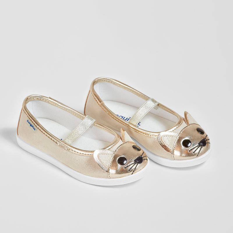 Girl's Platinum Kitten Ballerinas