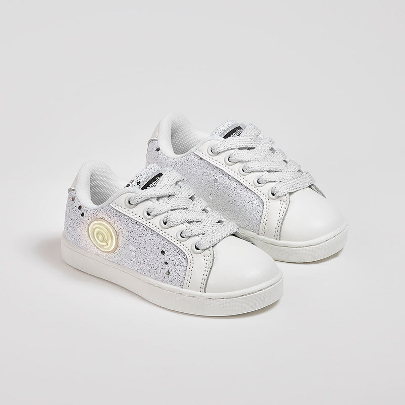 Girl's White Glitter Sneakers with Lights