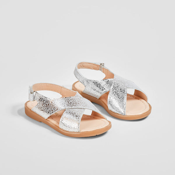Girl's Silver Crossed Straps Leather Sandals