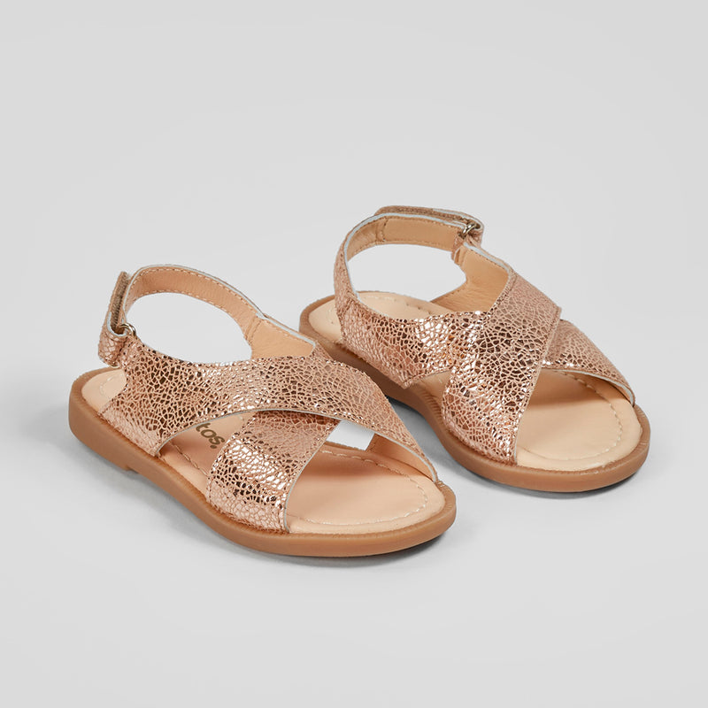Girl's Magnesium Crossed Straps Leather Sandals