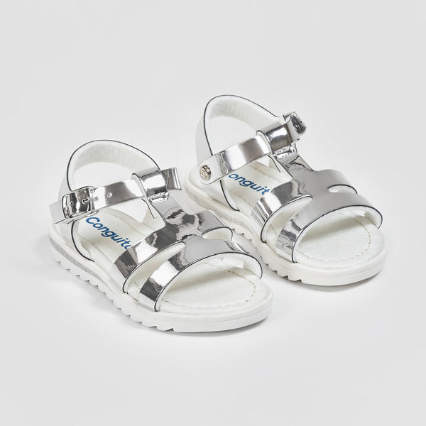 Girl's Silver Mirror Sandals
