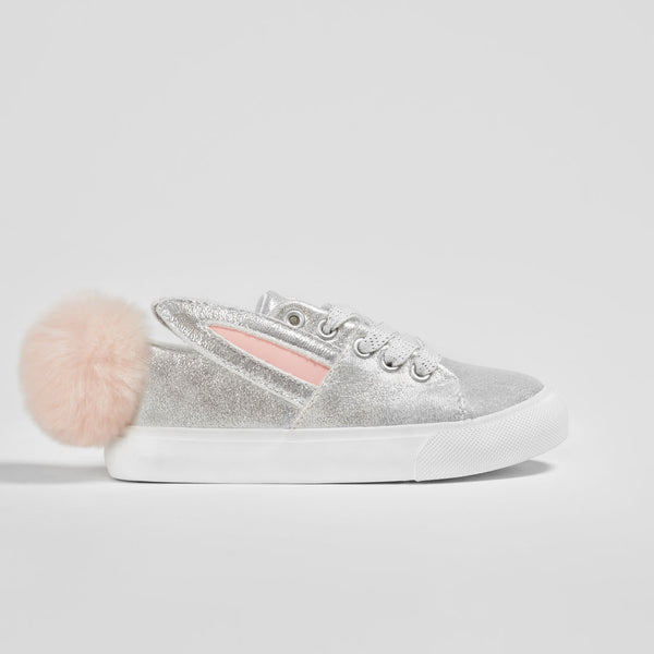 Girl's Silver Bunny Sneakers