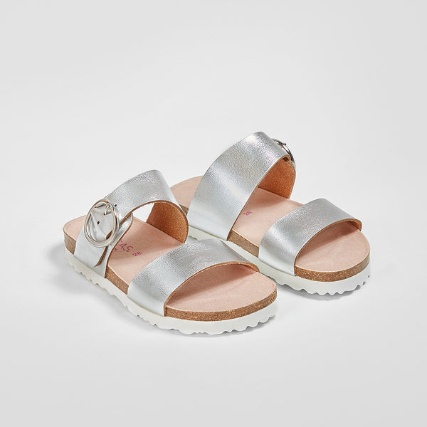Girl's Silver Buckle Sandals