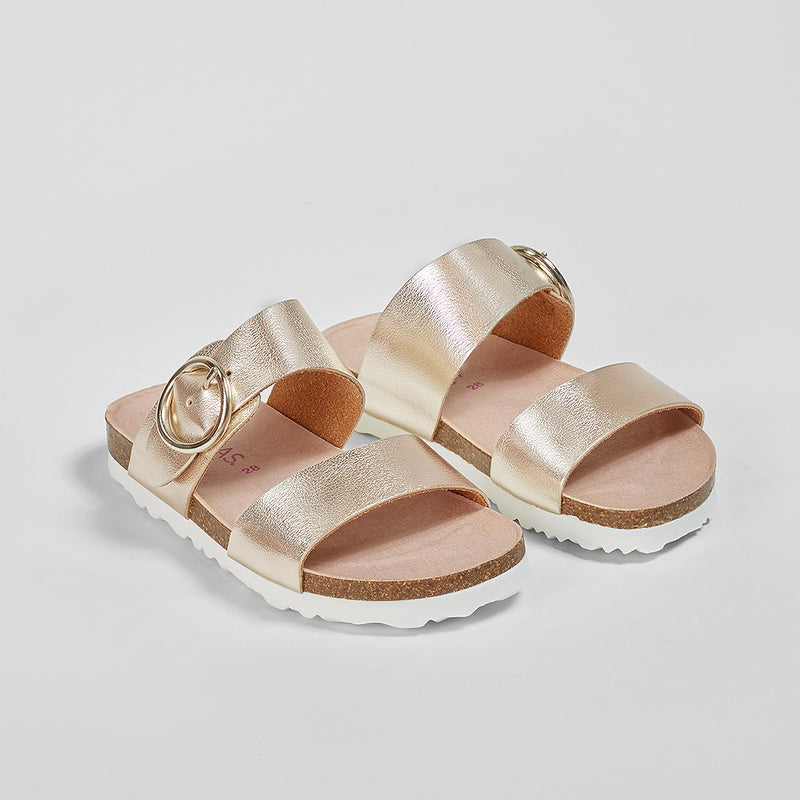 Girl's Platinum Buckle Sandals
