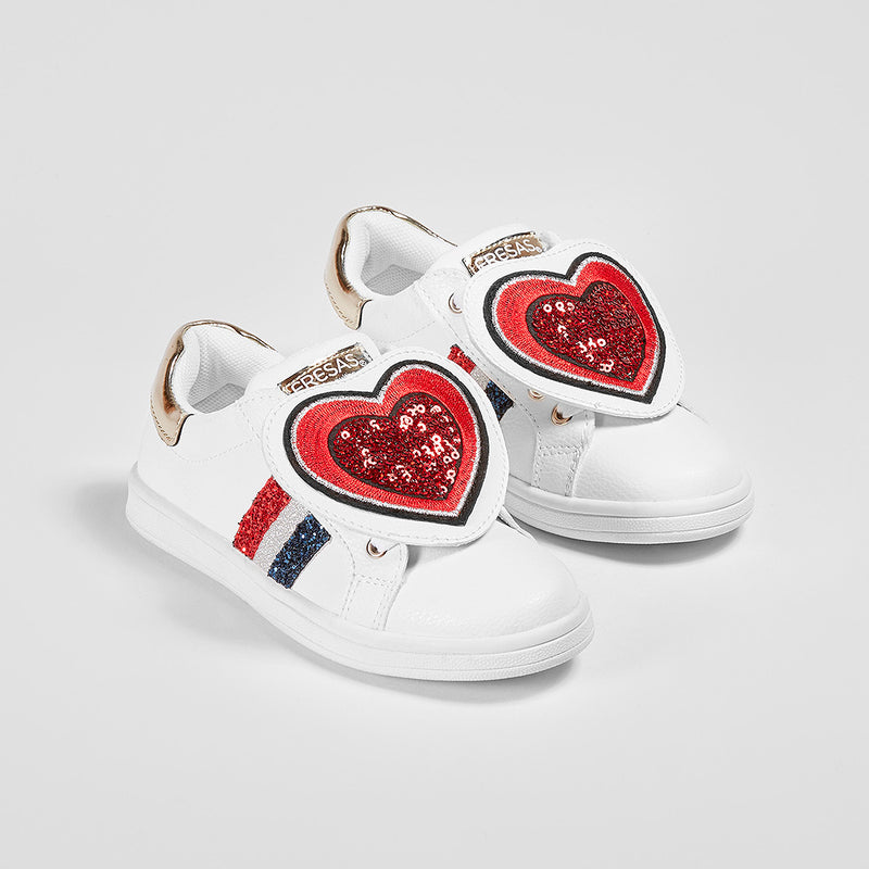 "Girl's ""Heart"" White Sneakers"
