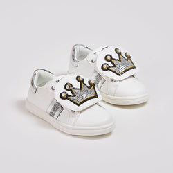 Girl's White Crown Sneakers