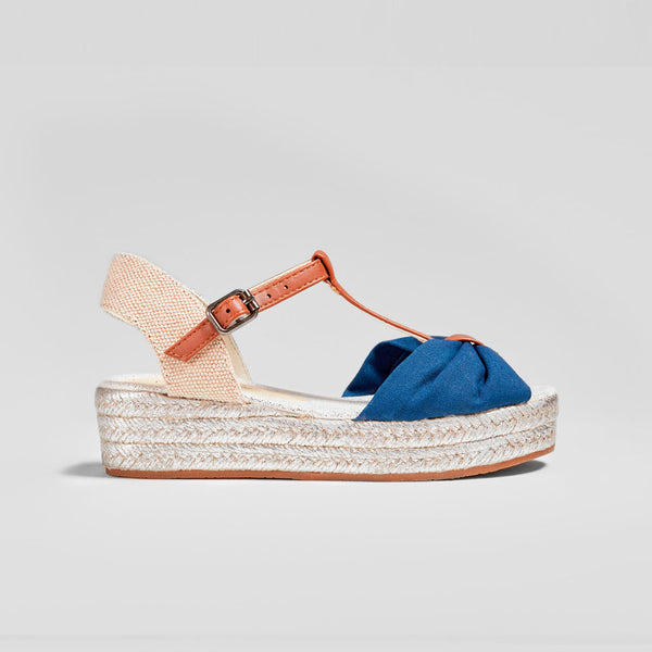 Girl's Navy Wedge Sandals