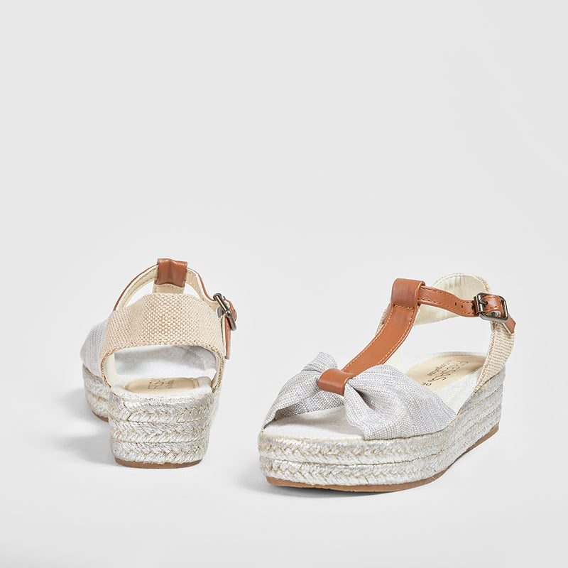 Girl's Metallic Silver Wedge Sandals