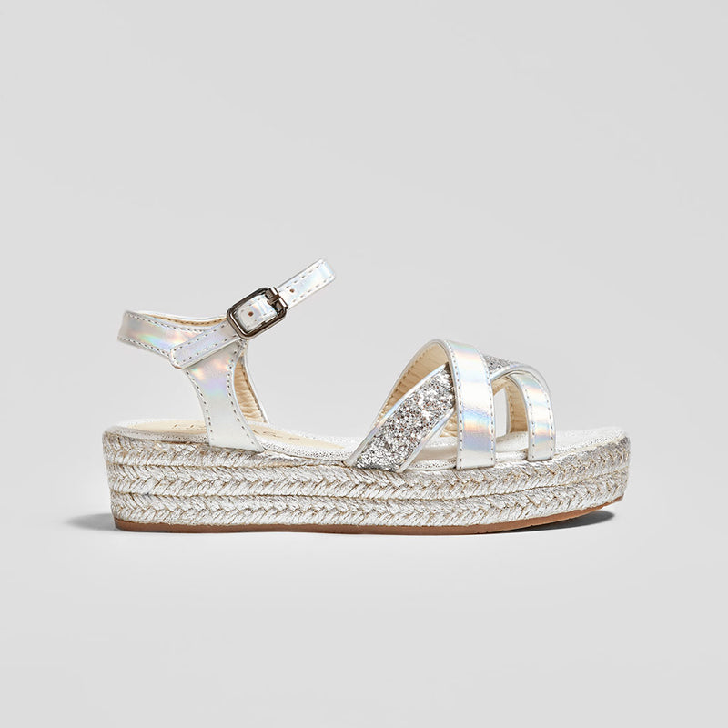 Girl's Metallic Silver Stripes Wedge Sandals