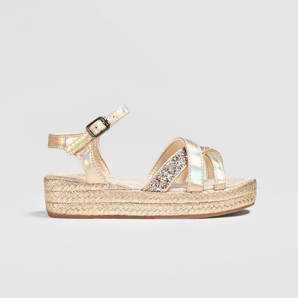Girl's Metallic Platinum Wedge Sandals