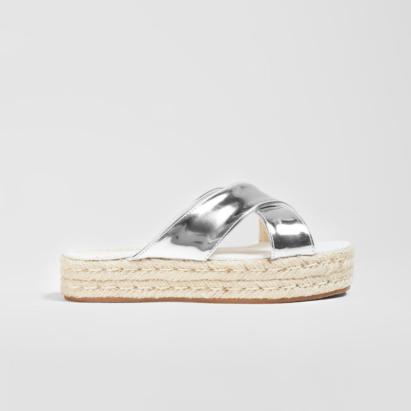 Girl's Silver Straps Crossed Mirror Sandals