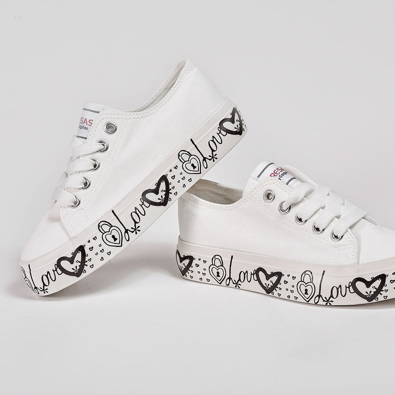 Girl's White Canvas Sneakers