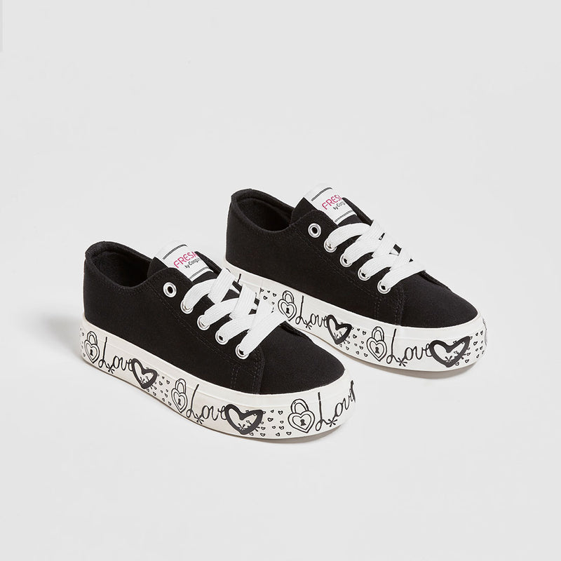 Girl's Black Canvas Sneakers
