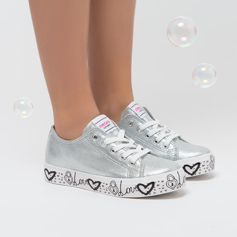 Girl's Silver Printed Canvas Slippers