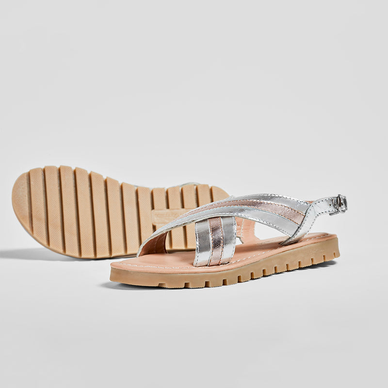 Girl's Silver and Magnesium Leather Sandals