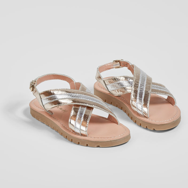 Girl's Silver and Platinum Metallic Sandals