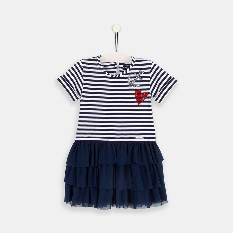 Girls Navy Combined Dress