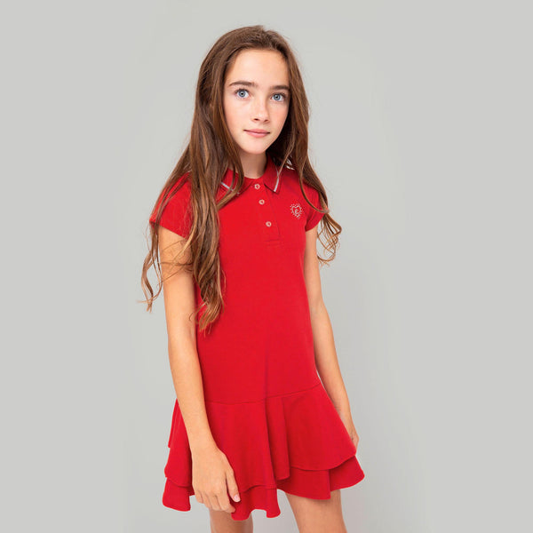 Girls Red Polo Dress