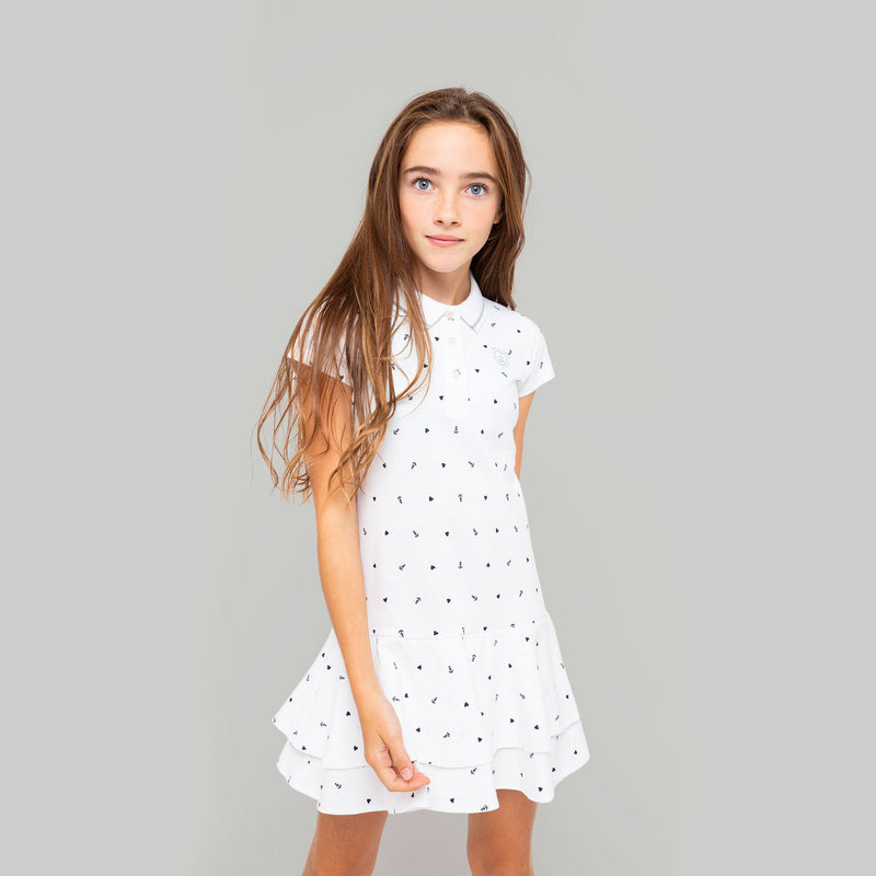 Girls White Printed Polo Dress