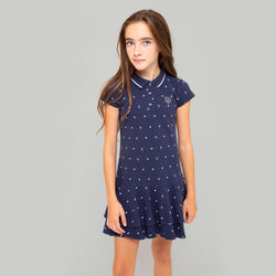 Girls Navy Printed Polo Dress