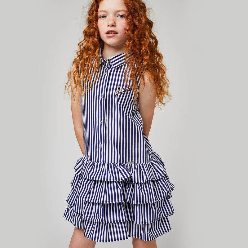 Girls Navy Striped Ruffle Dress