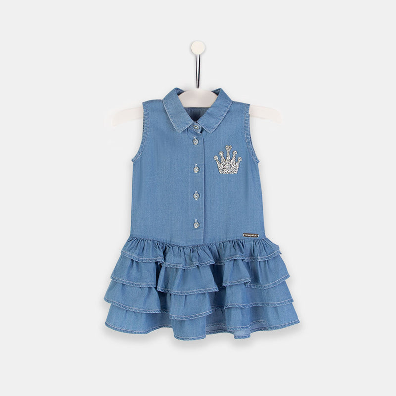 Girls Tencel Denim Ruffle Dress