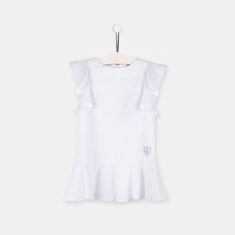 Girls White Ruffle Plumeti Dress