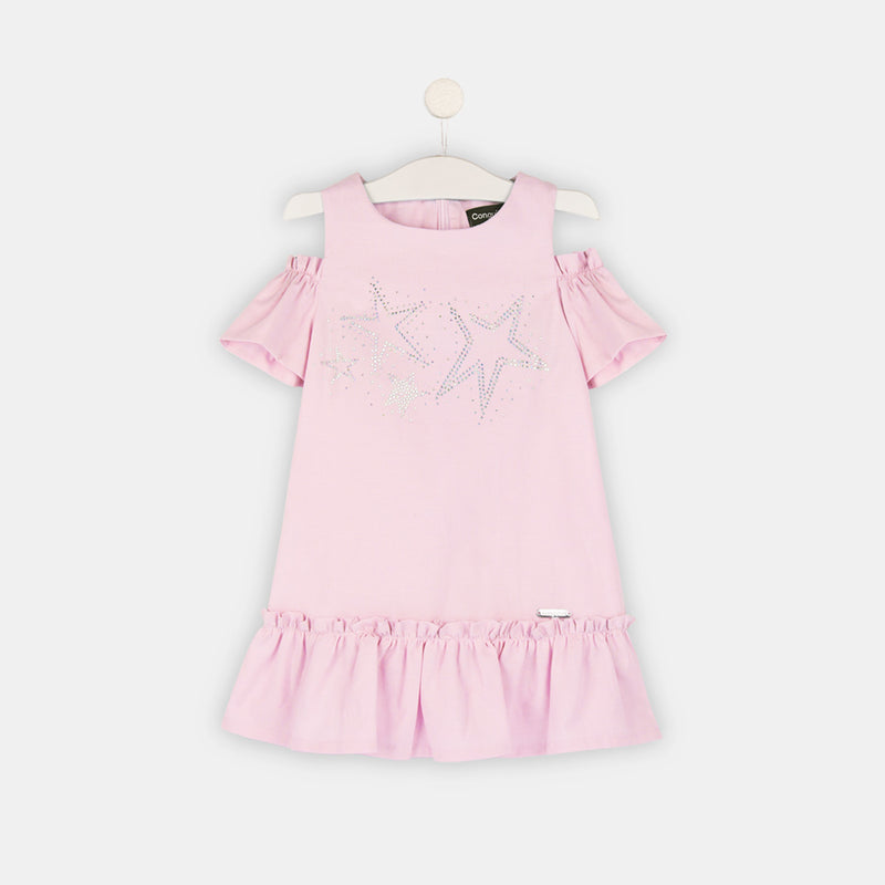 Girls Pink Offshoulder Dress