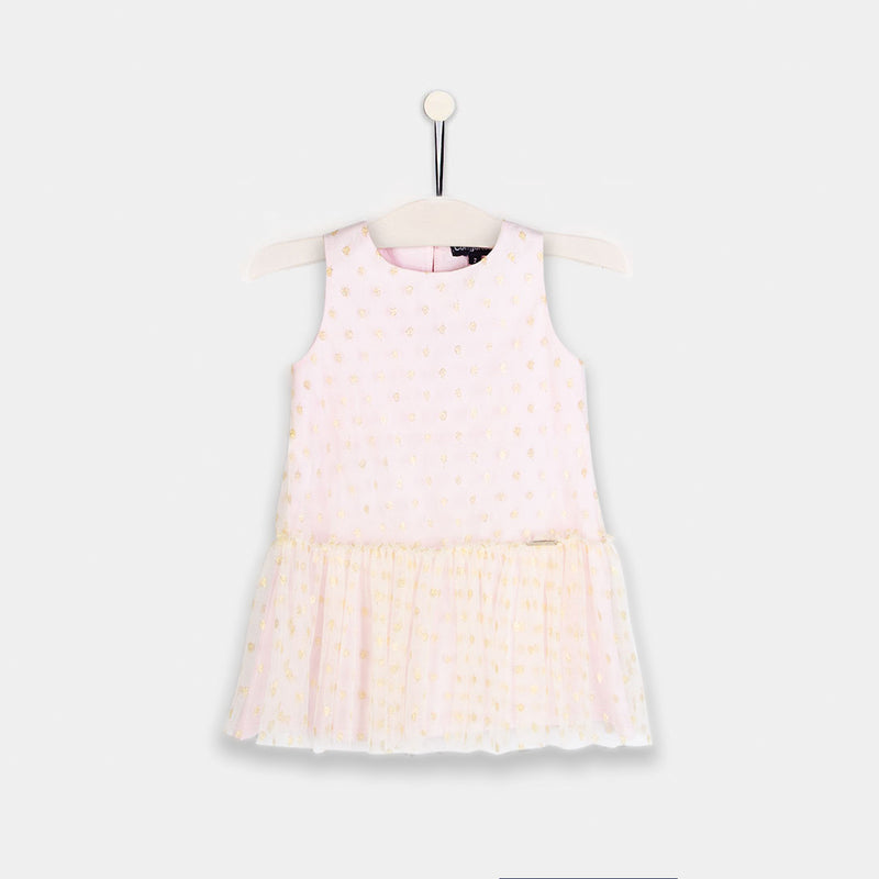 Girls Light Pink Dotted Dress