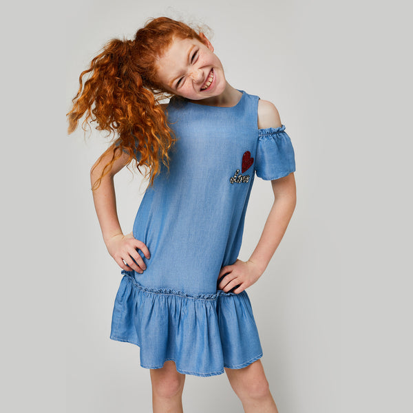 Girls Tencel Denim Offshoulders Dress